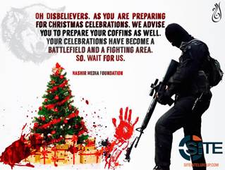 پوستر تیراندازی یک داعشی به سمت درخت کریسمس