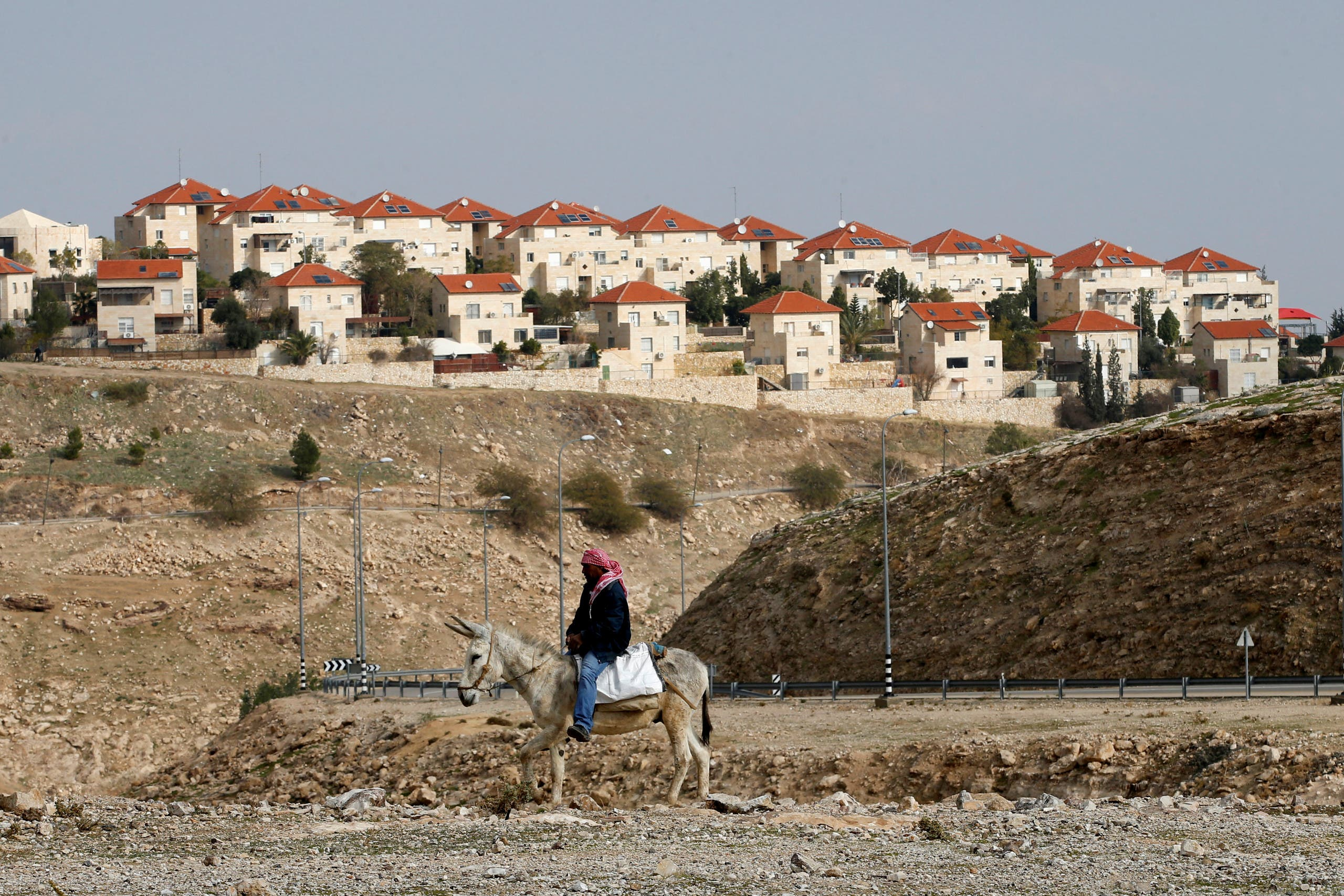 A Palestinian man rides a donkey near the Israeli settlement of Maale Edumim, in the occupied West Bank, December 28, 2016. (Reuters)