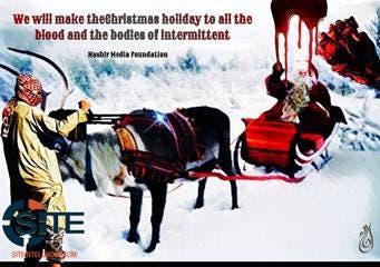 پوستر تیراندازی یکی از عوامل داعش به کالسکه بابانوئل است