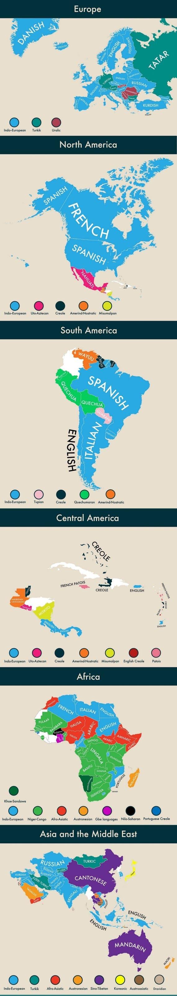 نقشه زبانهای دوم در قارههای مختلف جهان