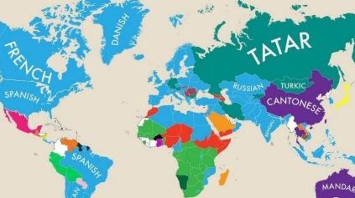 خارطة اللغات الثانية في العالم