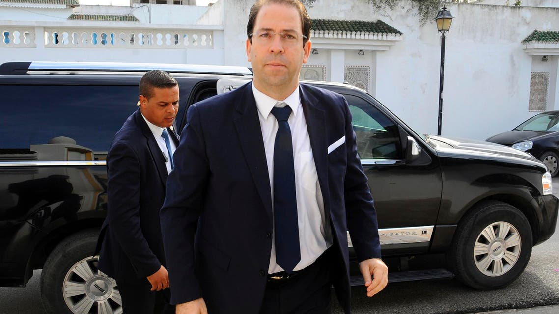 Tunisian Prime minister Youssef Chahed arrives at his residence in Carthage outside Tunis, Tunisia, before a meeting with prime ministers from the Benelux, on Dec. 6, 2016. (AP)