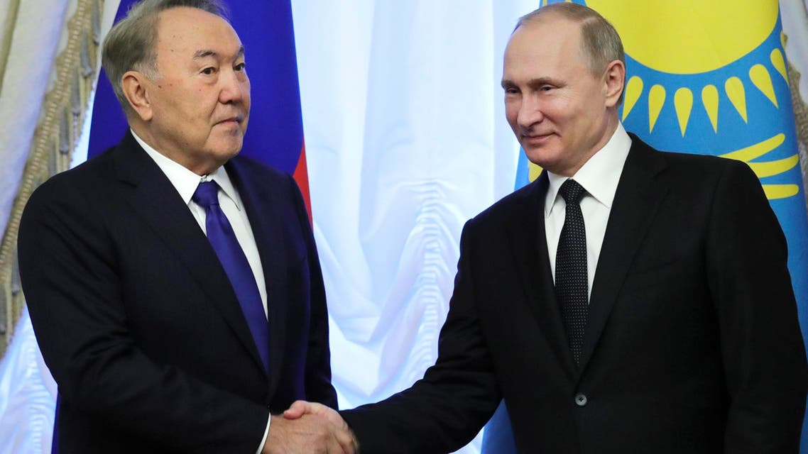 Russian President Vladimir Putin, right, and Kazakh President Nursultan Nazarbayev shake hands prior a Session of Collective Security Treaty Organization (CSTO) meeting on Dec. 26, 2016 in St. Petersburg, Russia. (AP)