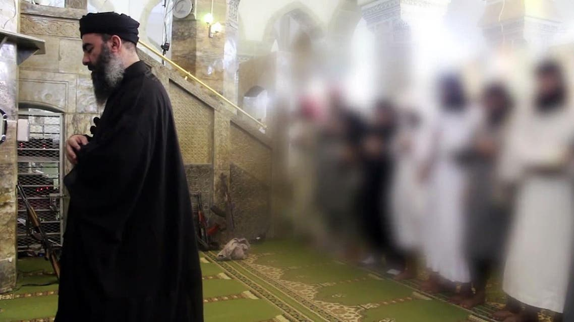 An image grab taken from a propaganda video released on July 5, 2014 by al-Furqan Media allegedly shows the leader of ISIS, Abu Bakr al-Baghdadi. (AFP)