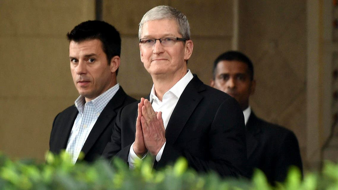 Apple chief Tim Cook, greets in Indian style at the Taj Mahal hotel in Mumbai, during his first visit to India on May 18, 2016. (AP)