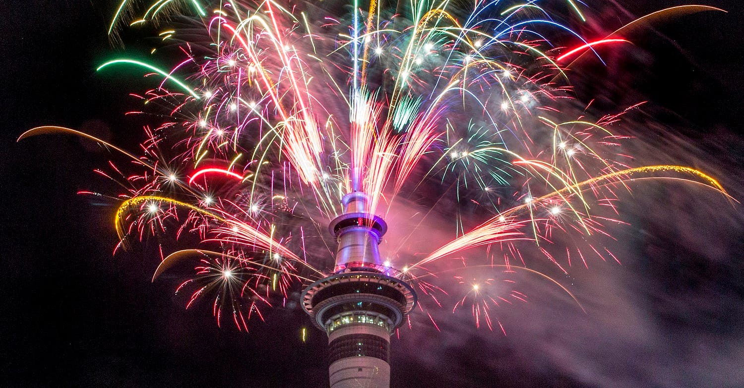Fireworks explode from Auckland's Sky Tower as the new year is welcomed to New Zealand. (AP)