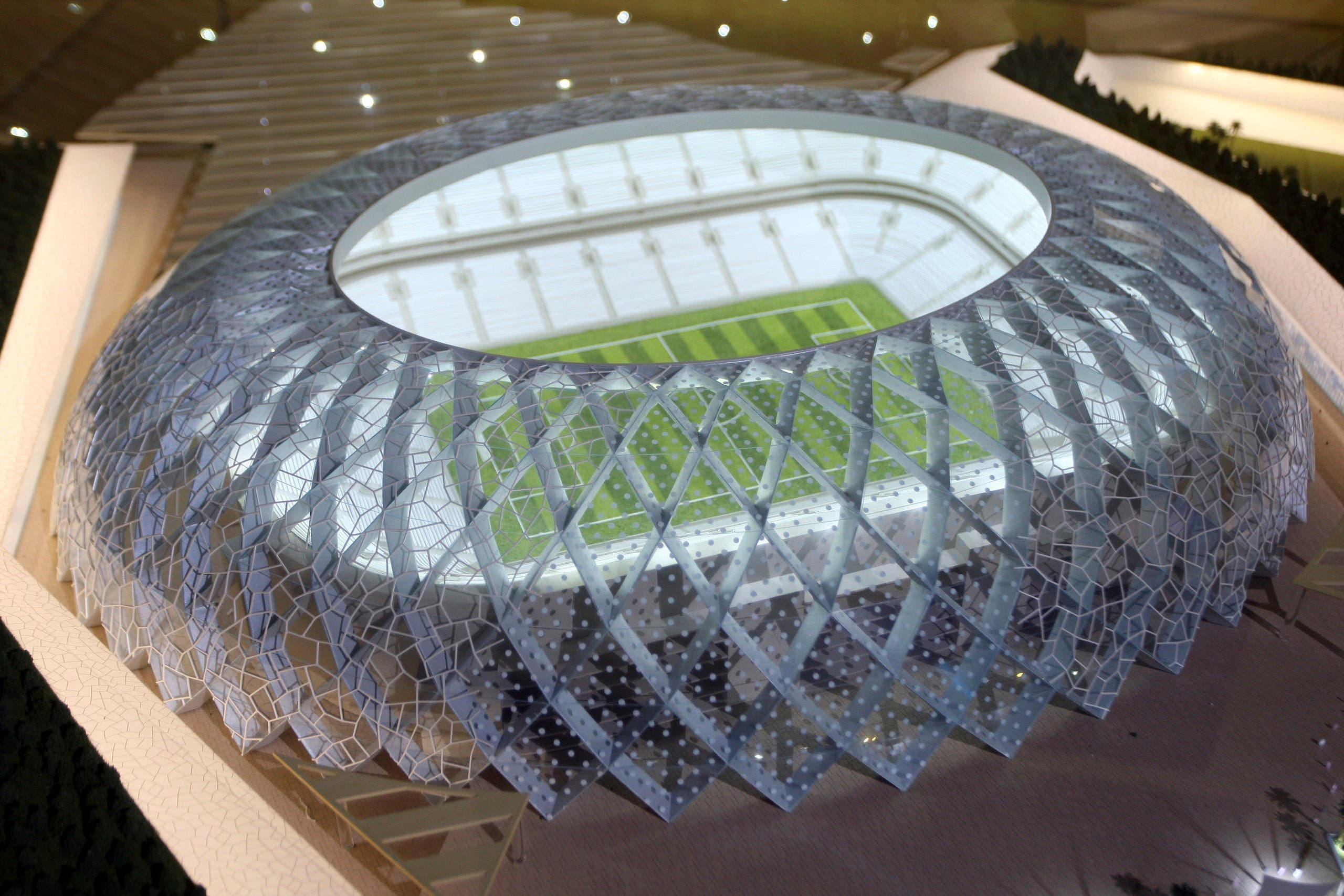 Qatar presents a model of its Al-Wakrah stadium, as the host of the 2022 World Cup, in Doha, Qatar. (AP)
