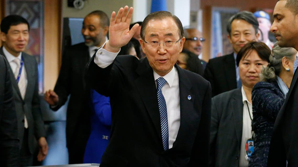 UN Secretary-General Ban Ki-moon waves as he departs from UN Headquarters on December 30, 2016, in New York. Former Portuguese Prime Minister Antonio Guterres assumes the reins of the United Nations on January 1, 2017. (AFP)