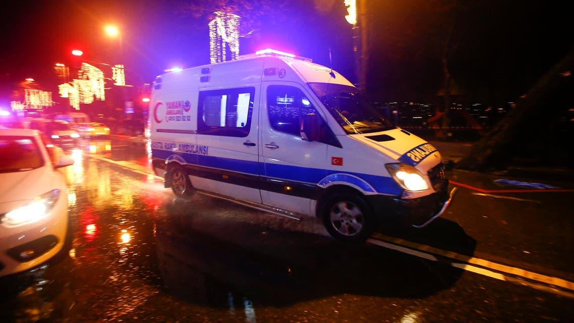 An ambulance arrives near a nightclub where a gun attack took place during a New Year party in Istanbul, Turkey, January 1, 2017.