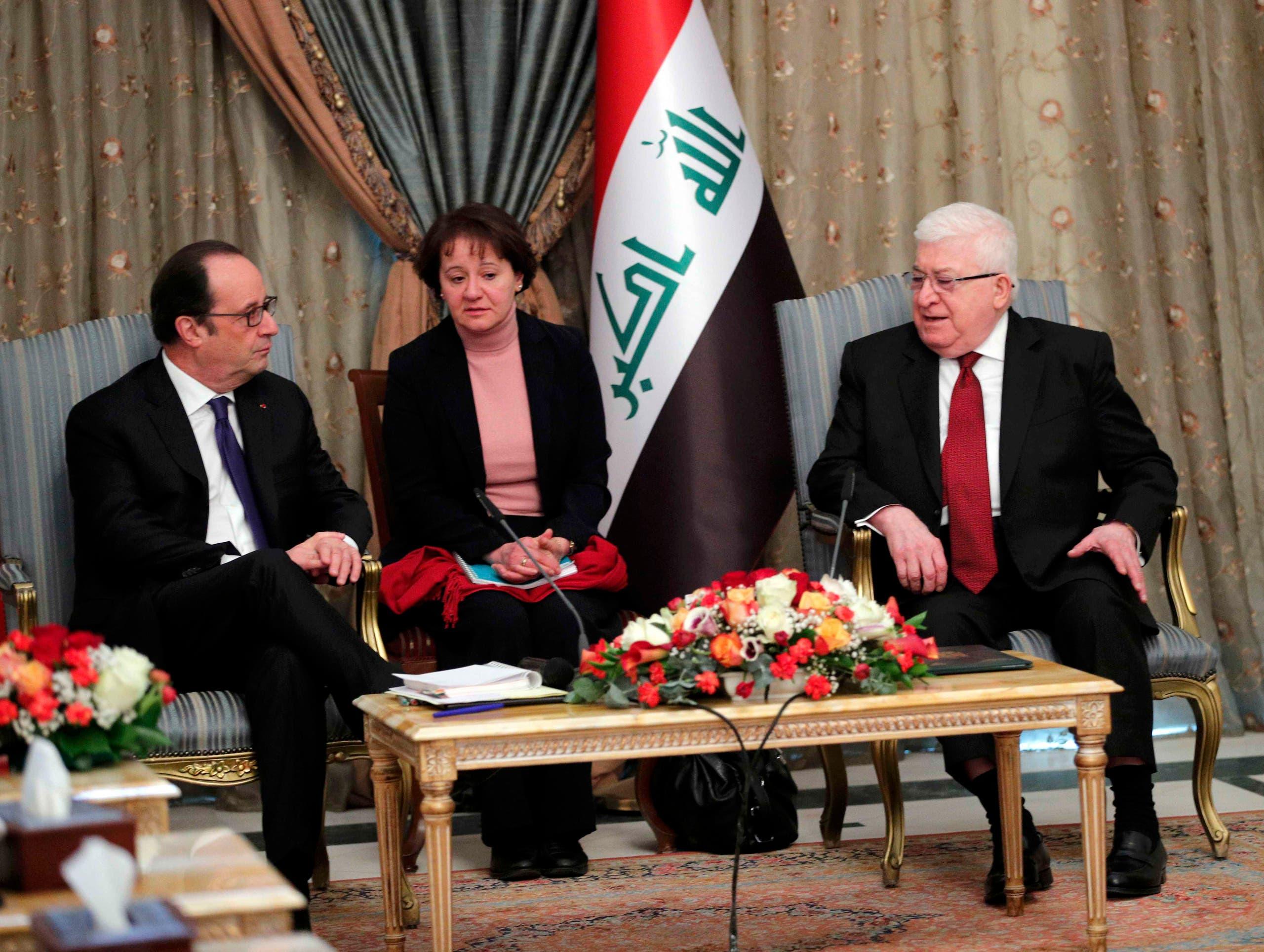 فرانسوا اولاند رئیس جمهوری فرانسه در دیدار با فواد معصوم رئیس جمهوری عراق
