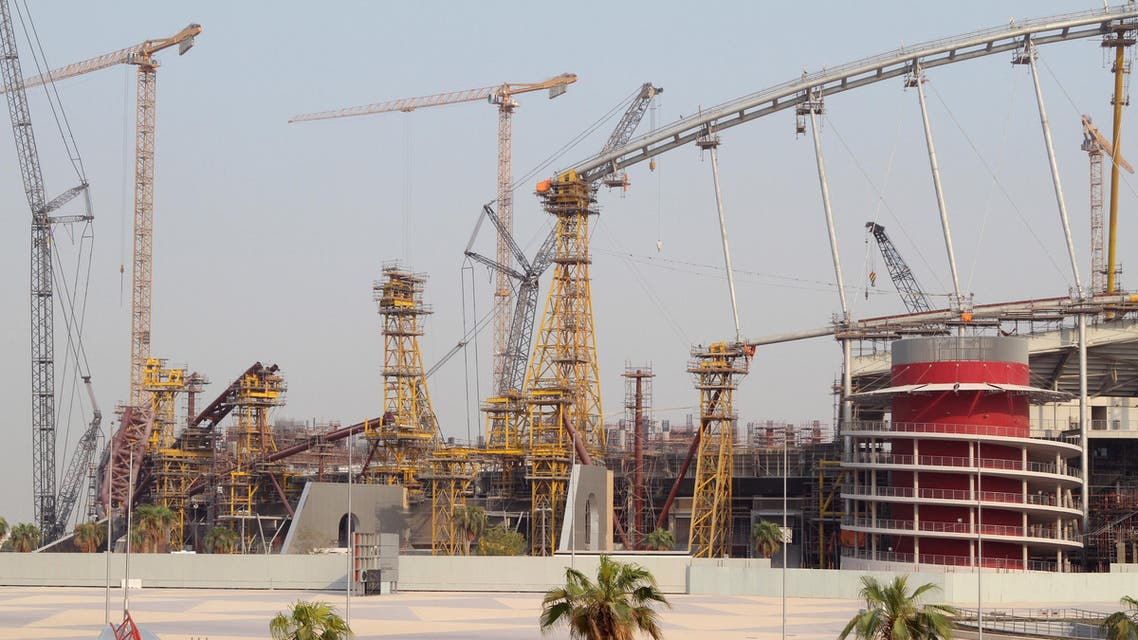 Construction work goes on at the Khalifa International Stadium in Doha, Qatar September 16, 2015. The stadium is being renovated to accommodate 40,000 spectators and is expected to host soccer matches during the 2022 World Cup. REUTERS