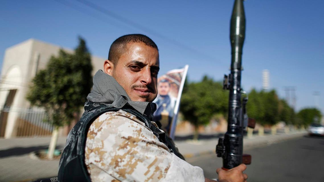 A Houthi fighter holds a rocket-propelled grenade (RPG) as he rides on the back of a patrol truck in Sanaa March 6, 2015. (File photo: Reuters)