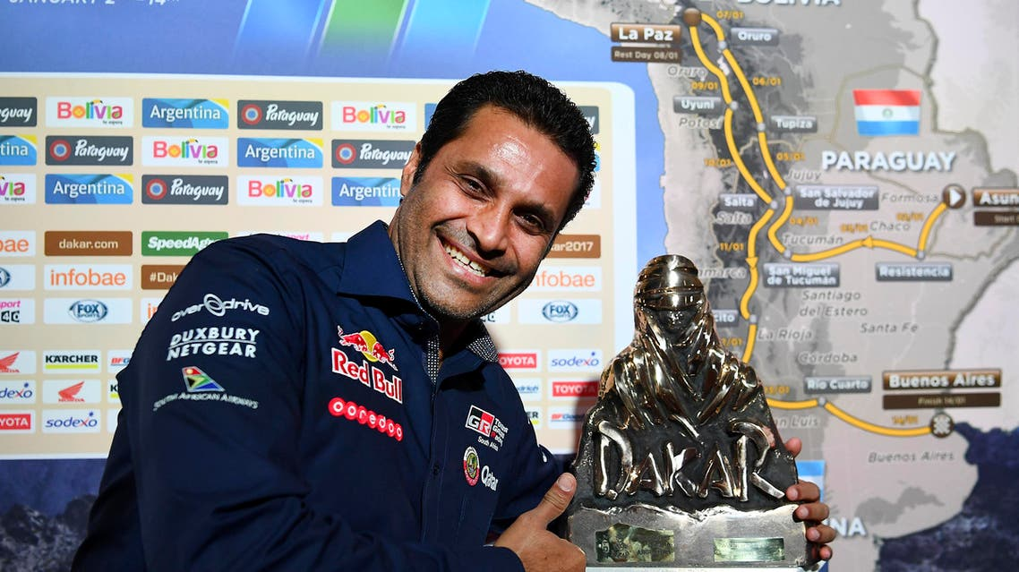 Qatari Nasser Al-Attiyah defended his status as champion of the Dakar Rally on Monday, winning the first stage of the legendary race. (AFP)