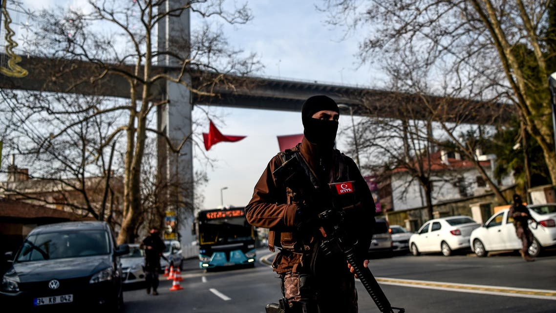 A Turkish special force police officer walks in front of the Reina nightclub on January 4, 2017 in Istanbul, three days after a gunman killed 39 people on New Year's night. (AFP)