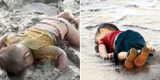 ایلان کردی اور برمی بچہ ،دونوں اوندھے منھ مردہ پڑے ملے تھے۔