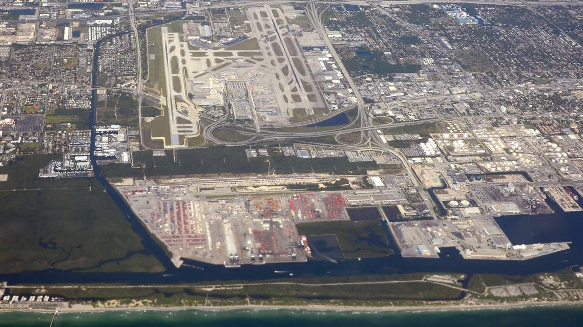 An aerial view taken on April 20, 2016 shows the Fort Lauderdale-Hollywood airport in Florida. AFP