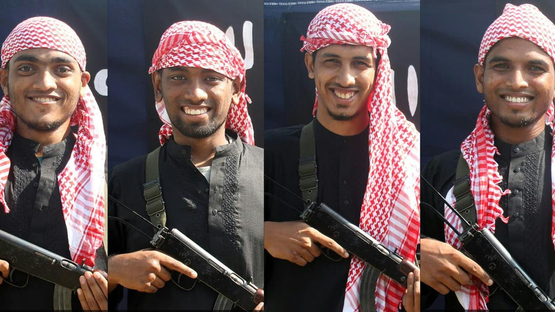 This combination of pictures done with photos released by the Bangladesh branch of ISIS shows five men, allegedly the gunmen who carried out an attack in the capital Dhaka on July 1, 2016. (File photo: AFP)