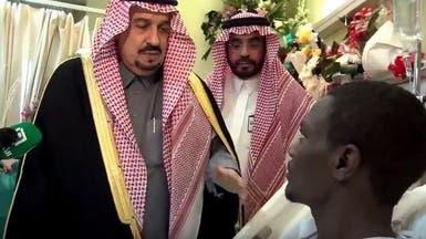 """شاهد حديث أمير الرياض لـ """"جبران العواجي"""" ووالده"""