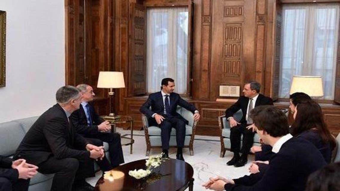 بشار الأسد مع الوفد الفرنسي
