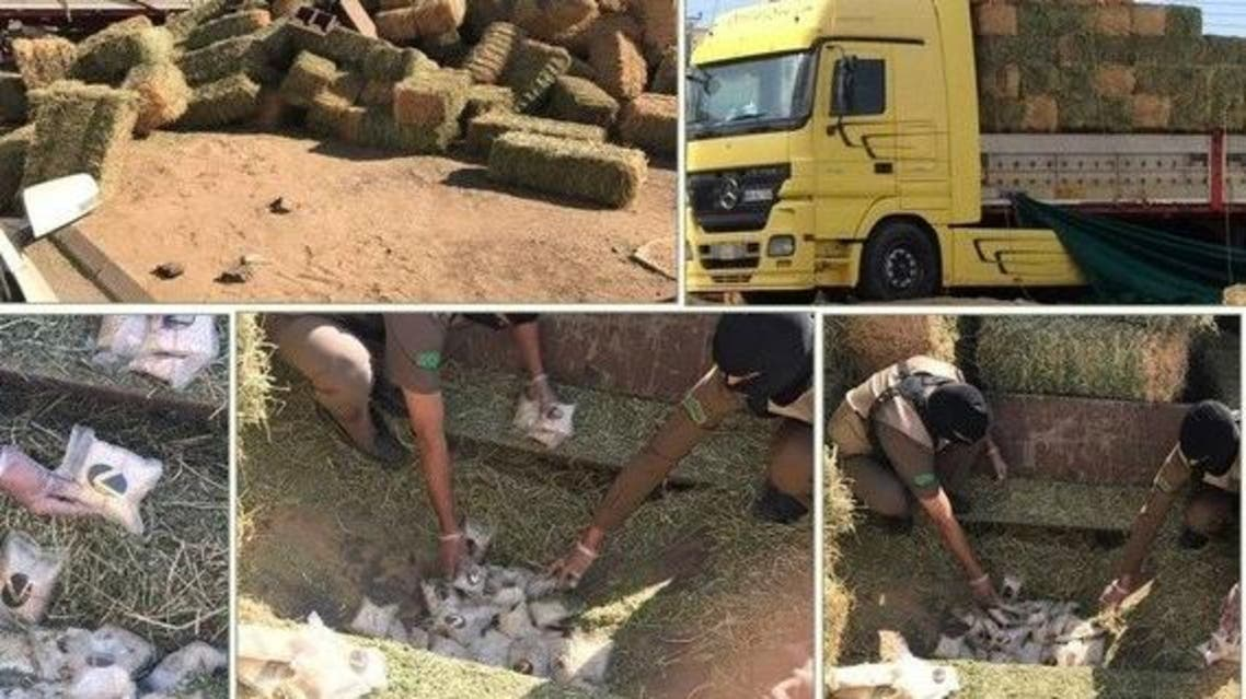 The drugs were being smuggled from the city to Jeddah via Tabuk while being hidden in hay stacks on a truck. (Supplied)