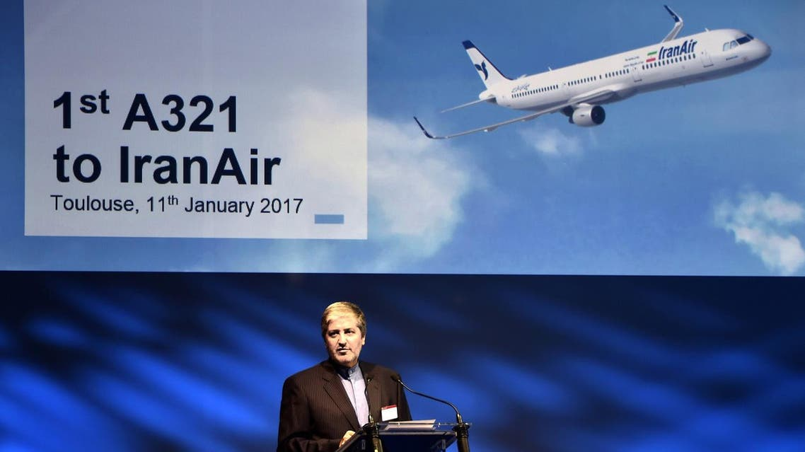 Iran Air chief executive officer Farhad Parvaresh delivers a speech during the ceremony for the delivery of the Airbus A321 toIran Air. (AFP)