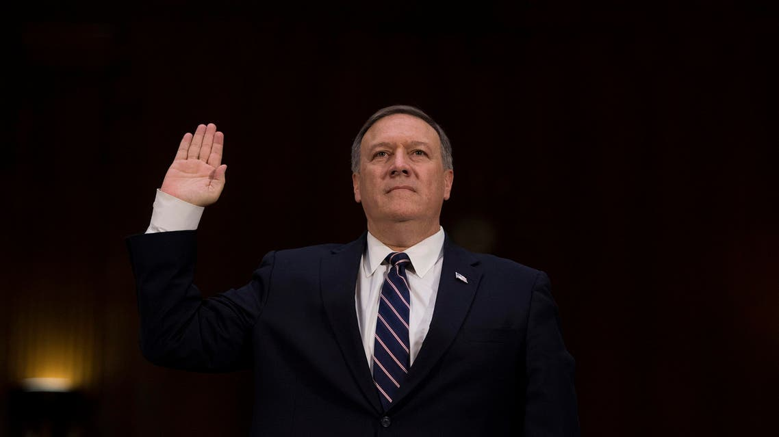 US Congressman Mike Pompeo, R-Kansas, is sworn in before testifying before the Senate (Select) Intelligence Committee on Capitol Hill in Washington, DC, January 12, 2017. (AFP)