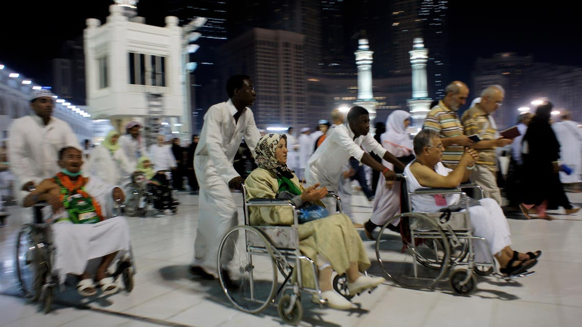 The aim is to make sure Haj affairs offices provide staff to accompany and help the disabled pilgrims who are not accompanied by relatives or other aides. (AFP)