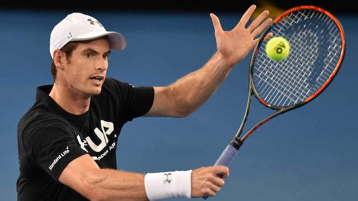 Andy Murray of Britain hits a return during a practice session ahead of the Australian Open tennis tournament in Melbourne on January 13, 2017. (AFP)