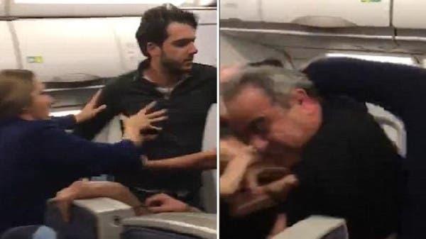 شاهد خناقة راكبين اضطرت طائرة لبنانية للهبوط باسطنبول