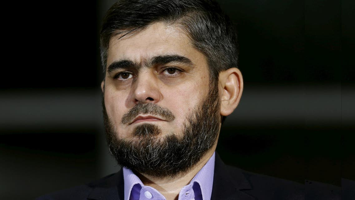 Mohammad Alloush of the Jaish al Islam faction and member of the High Negotiations Committee (HNC) attends a news conference after a meeting with U.N. mediator Staffan de Mistura during Syria Peace talks at the United Nations in Geneva, Switzerland, April 13, 2016. (Reuters)