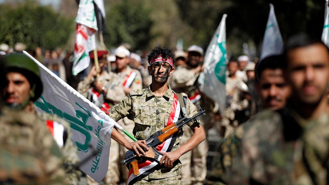Newly recruited Houthi fighters parade before heading to the frontline to fight against government forces, in Sanaa. (Reuters)