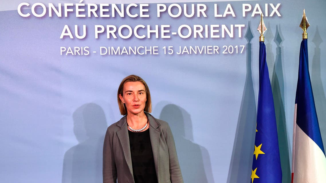 European Union Foreign Policy Chief Federica Mogherini arrives for the opening of the Mideast peace conference in Paris on January 15, 2017