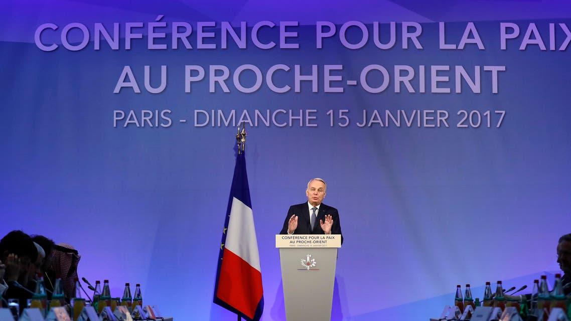 French Minister of Foreign Affairs Jean-Marc Ayrault addresses delegates at the opening of the Mideast peace conference in Paris, January 15, 2017. (Reuters)