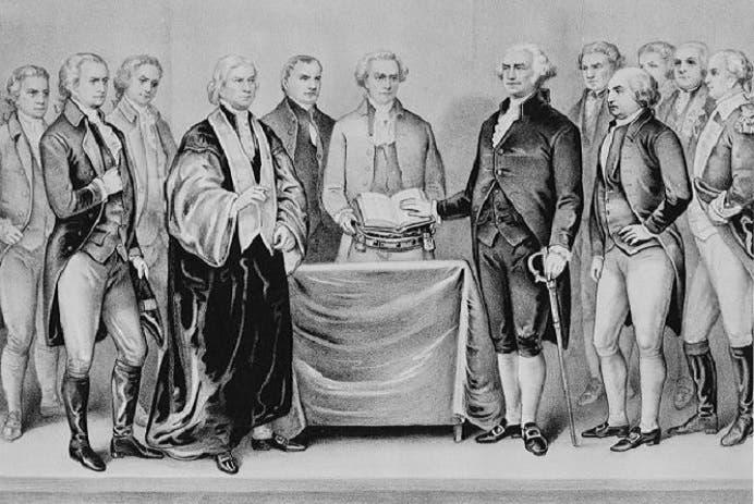 جورج واشنطن كان في 30 أبريل 1789 أول رئيس أميركي يقيمون له مراسم قسم لليمين وحفل تنصيب