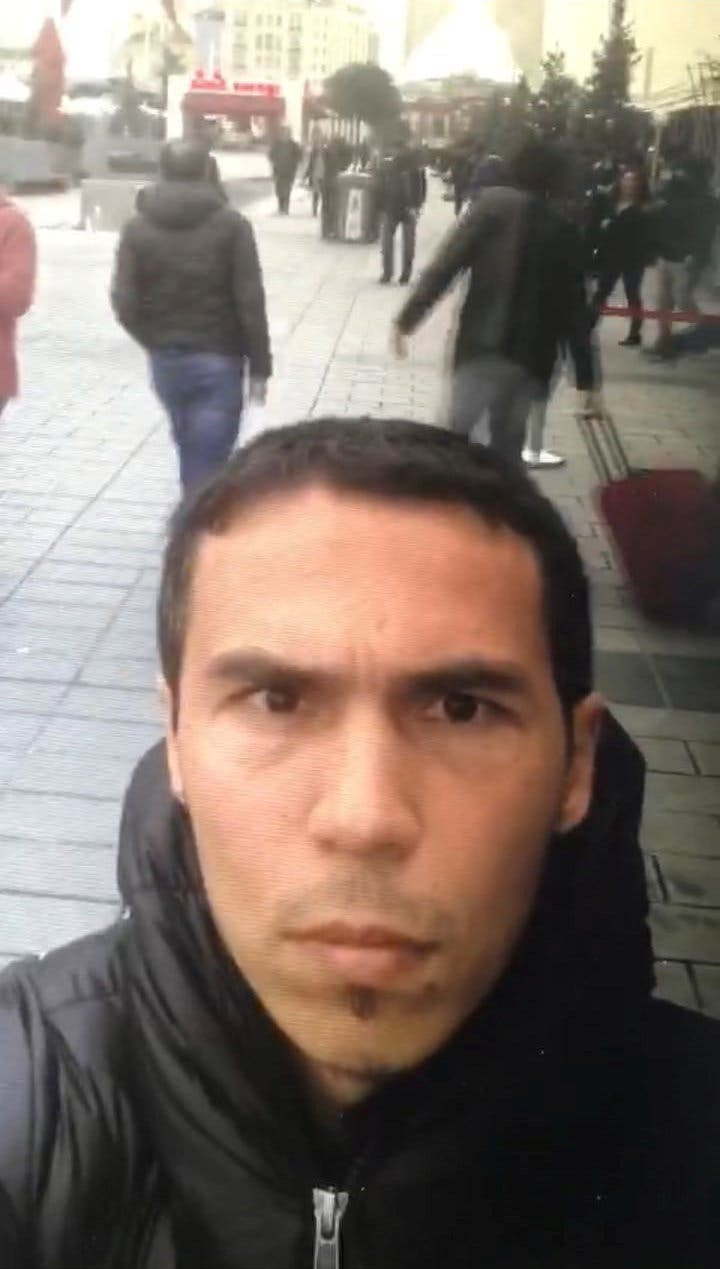 A frame grab made from a video which was distributed by Turkish police and released on January 3, 2017, shows a man, the suspected gunman behind the attack at Reina nightclub, taking a selfie in Istanbul, Turkey