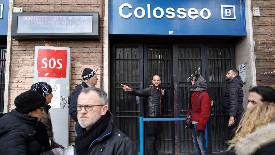 A man gives indications to tourists after the Colosseo subway station was closed following three earthquakes which hit central Italy in the space of an hour, shaking the same region that suffered a series of deadly quakes last year, in Rome, on Wednesday, Jan. 18, 2017. (AP)