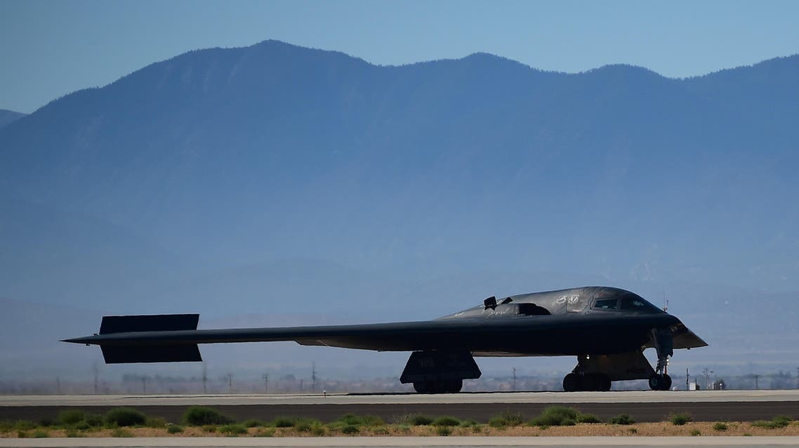 his file photo taken on July 17, 2014 shows a B-2 Stealth Bomber landing at the Palmdale Aircraft Integration Center of Excellence in Palmdale, California, as the US Air Force and manufacturer Northrop Grumman celebrated the 25th anniversary of the B-2 Stealth Bomber's first flight. US B-2 bombers have struck Islamic State military AFP