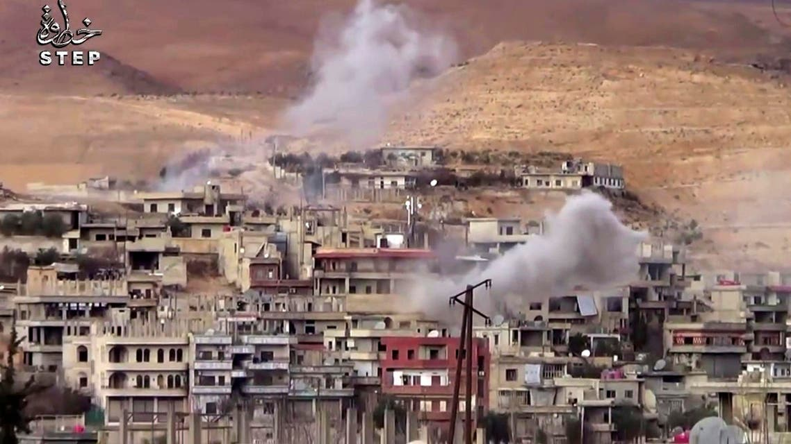 This file frame grab from video provided on Sunday, Dec. 25, 2016 by Step News Agency, a Syrian opposition media outlet that is consistent with independent AP reporting, shows smoke rise from the government forces shelling on Wadi Barada, northwest of Damascus, Syria. (AP)