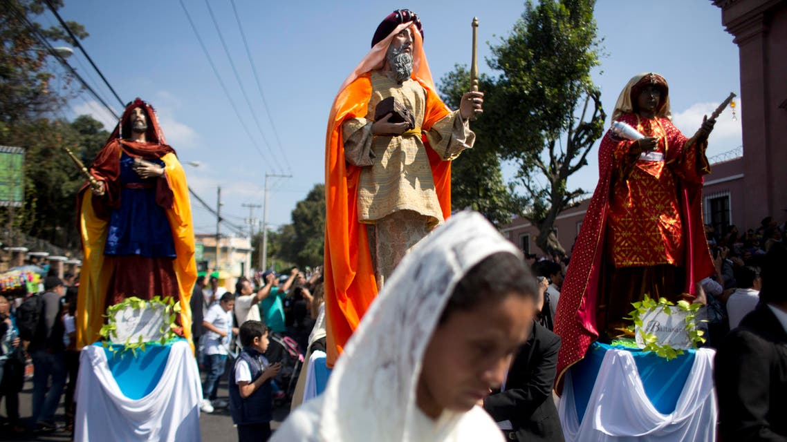Statues of The Three Kings are paraded through the streets during the feast of The Epiphany, at the Guarda Viejo neighborhood in Guatemala City, Friday, Jan. 6, 2017. AP