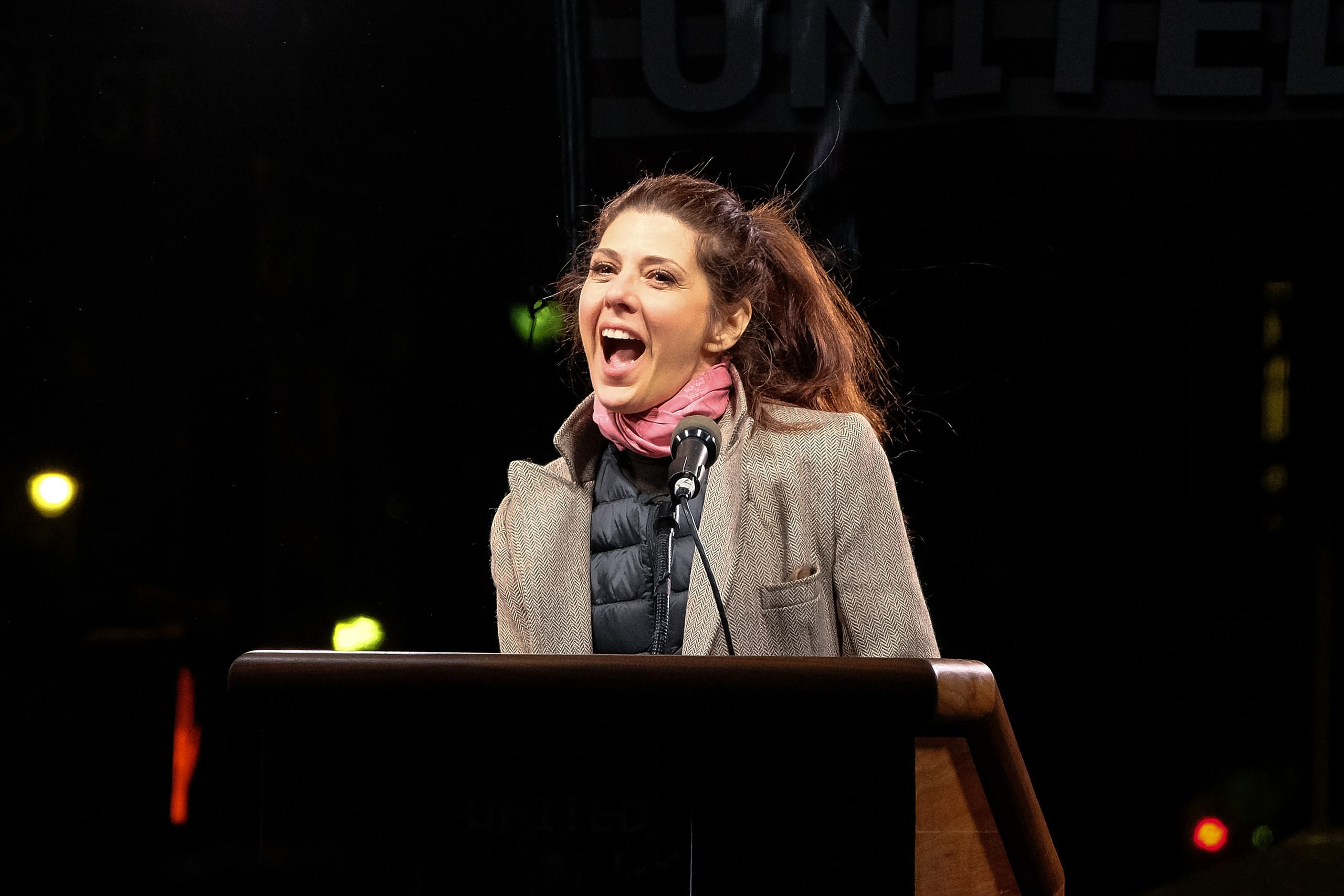 Marisa Tomei speaks onstage during the We Stand United NYC Rally outside Trump International Hotel & Tower on January 19, 2017 in New York City. (AFP)