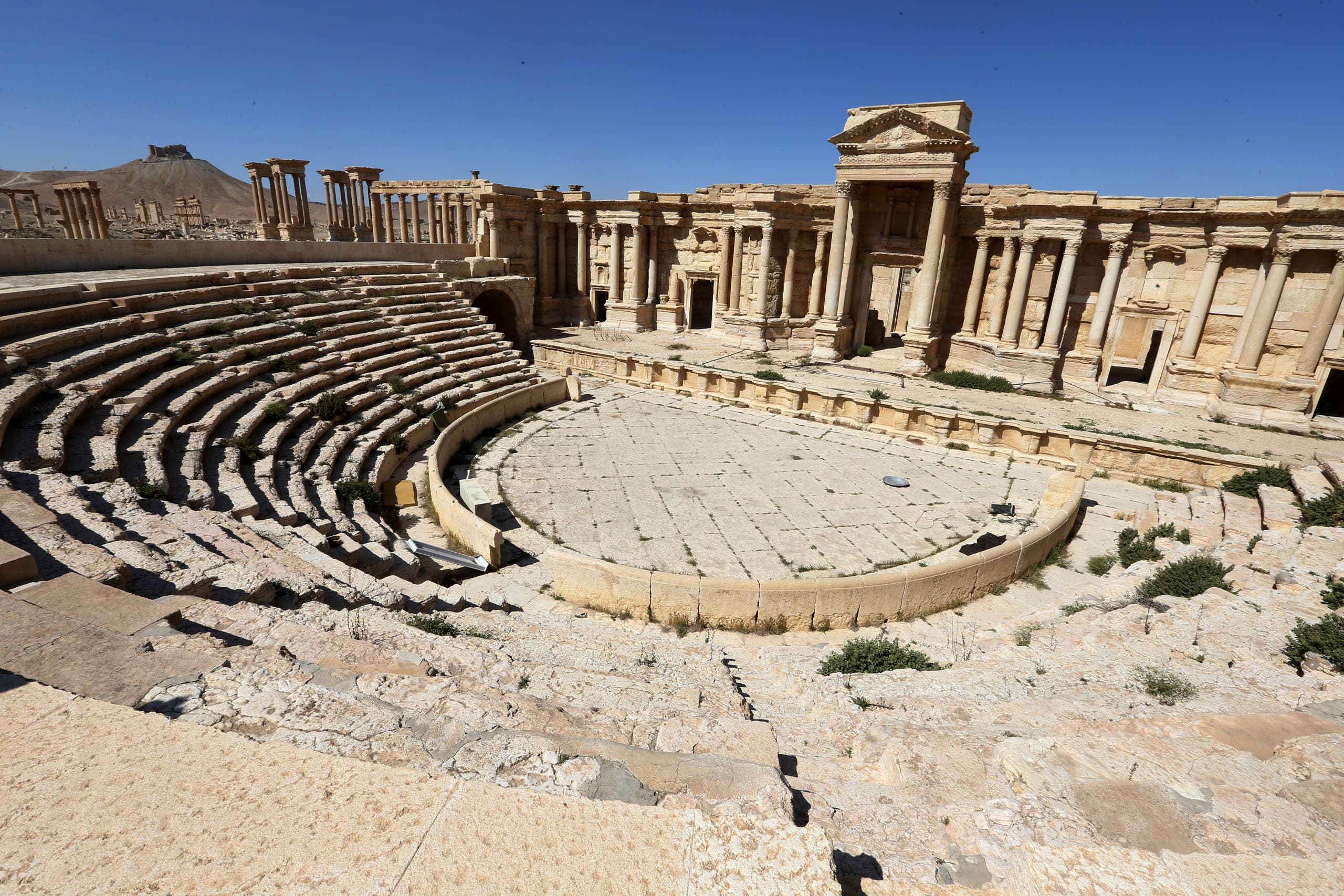 This file photo taken on March 31, 2016 shows the Roman Theatre in the ancient city of Palmyra in central Syria. (AFP)