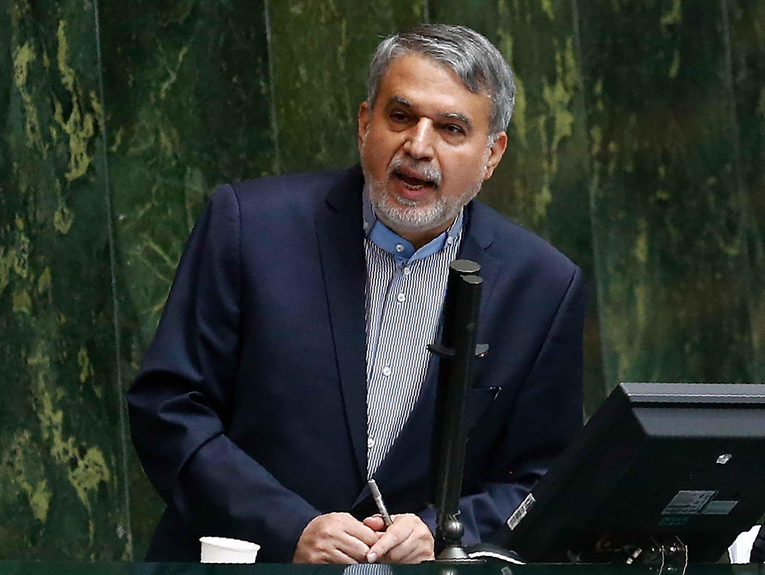 Newly nominated minister of culture Reza Salehi Amiri delivers a speech to the parliament in Tehran on November 1, 2016