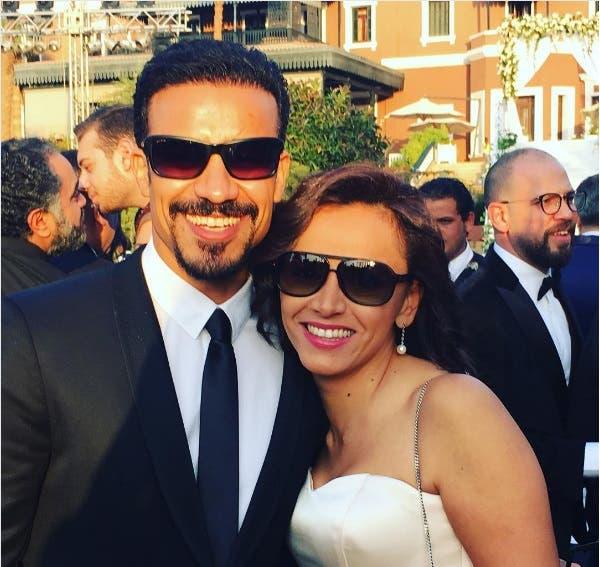 أحمد داود وزوجته في حفل الزفاف