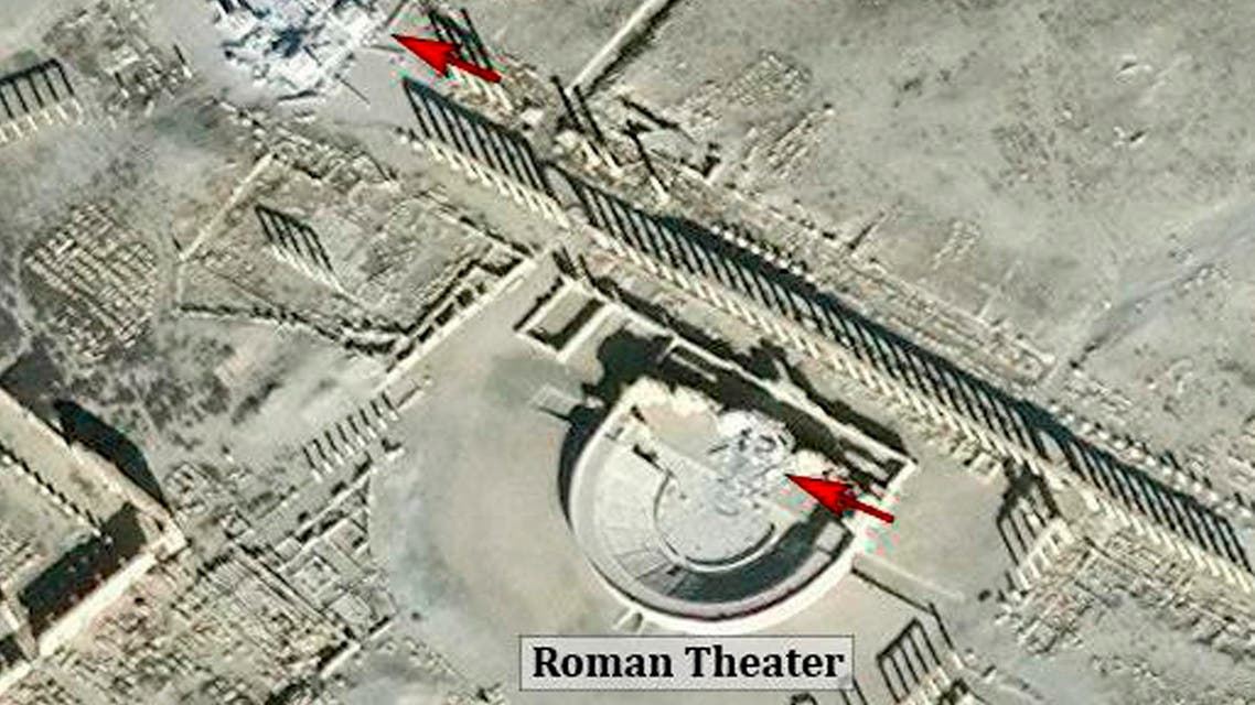This satellite image released by the American Schools of Oriental Research (ASOR) on Friday, Jan. 20, 2017 as captured by DigitalGlobe shows the Roman theater at the UNESCO World Heritage Site of Palmyra, Syria with red denoting area of new damages on Jan. 10, 2017. (AP)