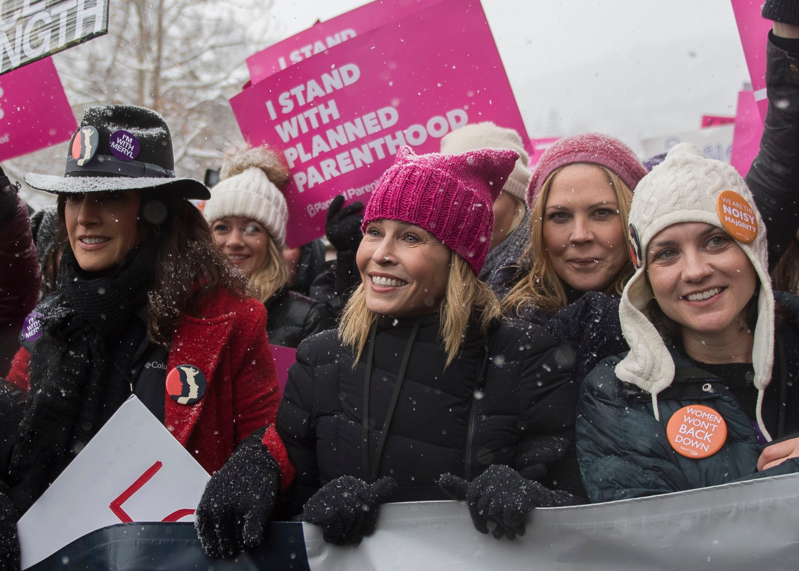Actress Chelsea Handler participates in the 'Women's March On Main' during the 2017 Sundance Film Festival on Saturday, Jan. 21, 2017, in Park City, Utah. (AP)