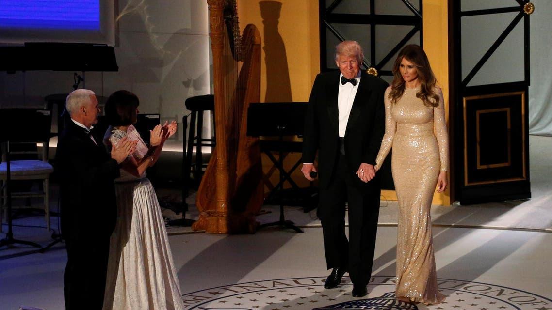 Lebanese designer Reem Acra dressed Melania in a glittering gold dress. (Reuters)