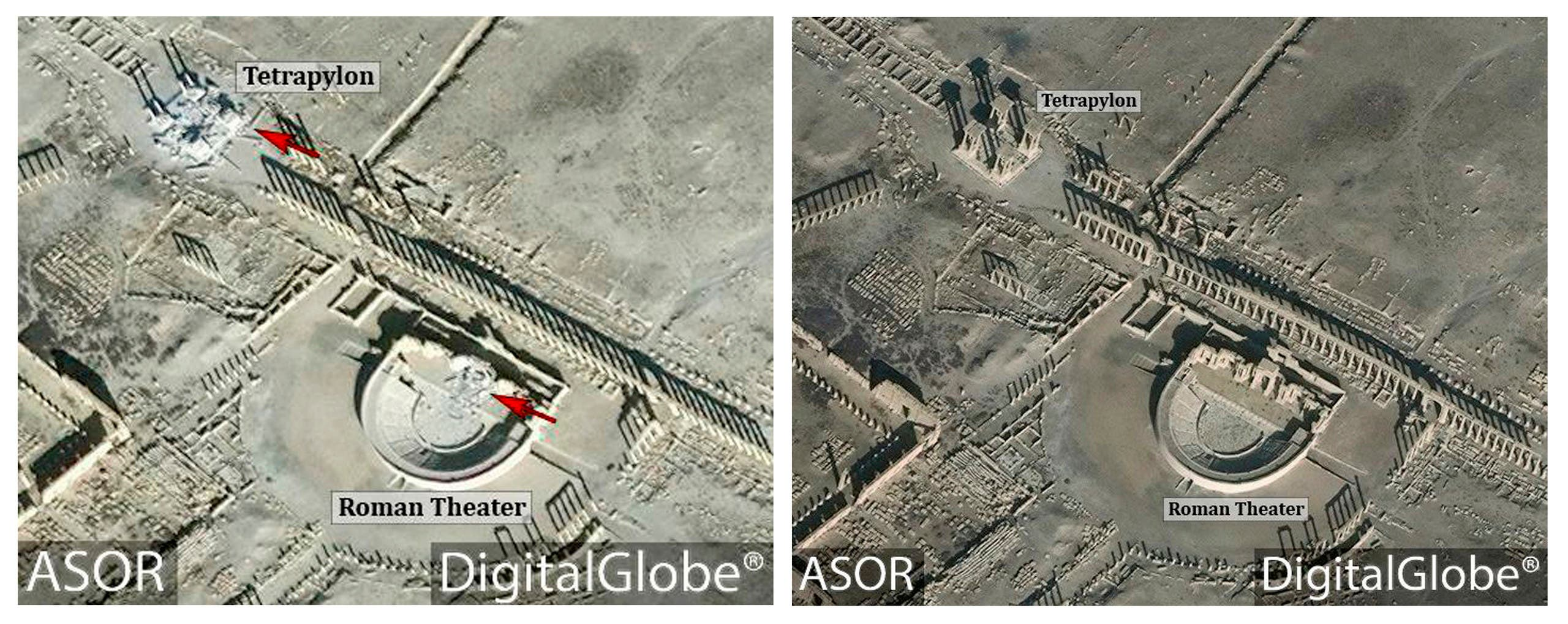 This combination of satellite images released by the American Schools of Oriental Research (ASOR) on Friday, Jan. 20, 2017 as captured by DigitalGlobe shows the Roman theater at the UNESCO World Heritage Site of Palmyra, Syria on Jan. 10, 2017 with new damages indicated in red, left, and the site on Dec. 26, 2016, right. (AP)