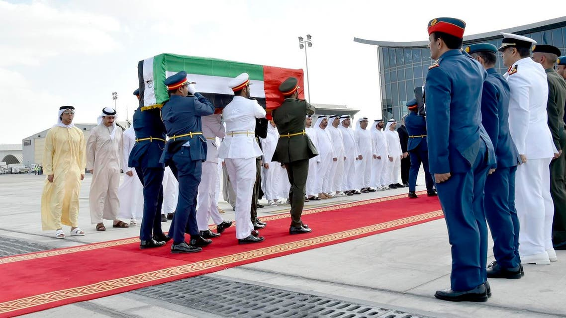 Members of the Emirati armed forces carry the coffins of officials who were killed in a bombing in the southern Afghan city of Kandahar, during an official repatriation ceremony at al-Bateen airport in Abu Dhabi (File Photo: AFP/WAM)