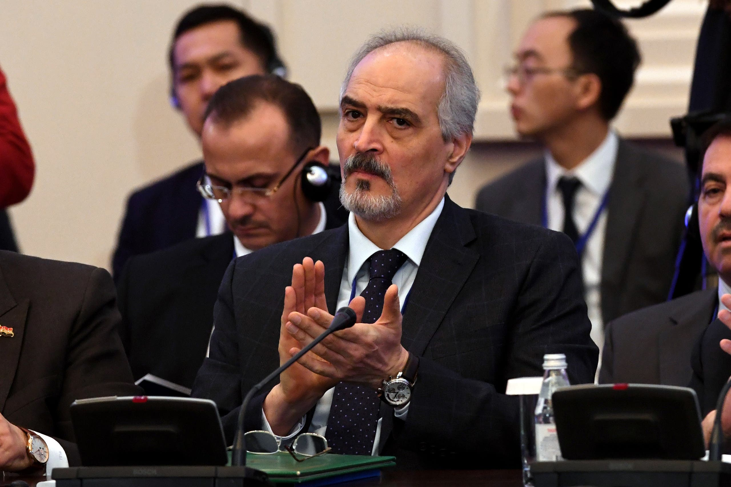 Syria's UN ambassador and head of the government delegation Bashar al-Jaafari attends the first session of Syria peace talks at Astana's Rixos President Hotel on January 23, 2017. AFP