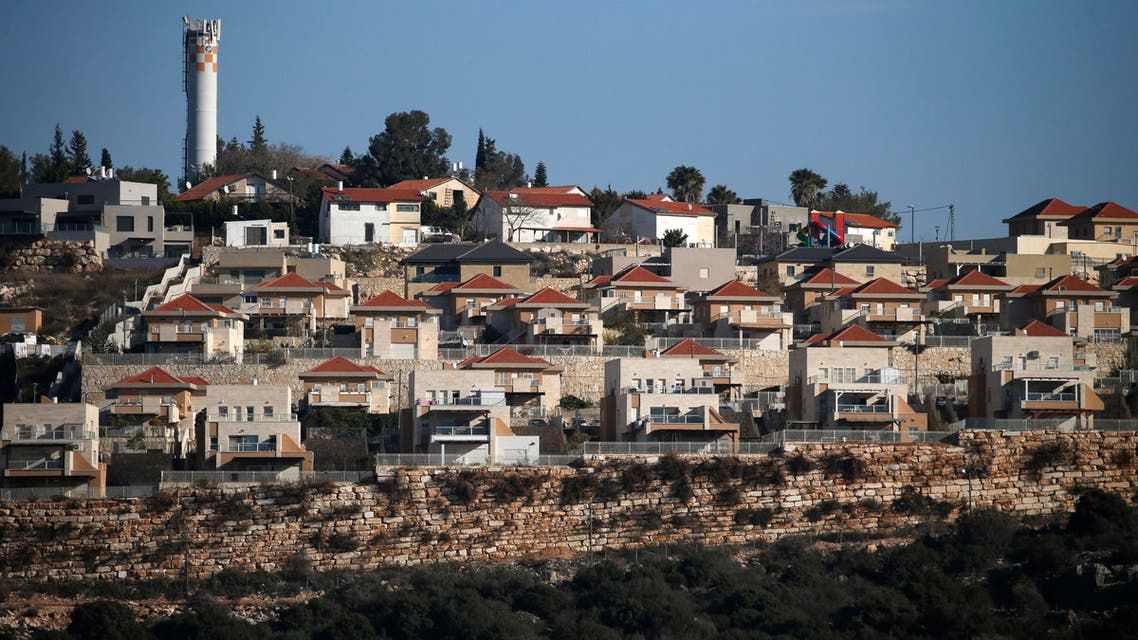 A general view taken on January 23, 2017 from the Palestinian West Bank village of Rafat, shows the Israeli Jewish settlement of Alei Zahav. (AFP)